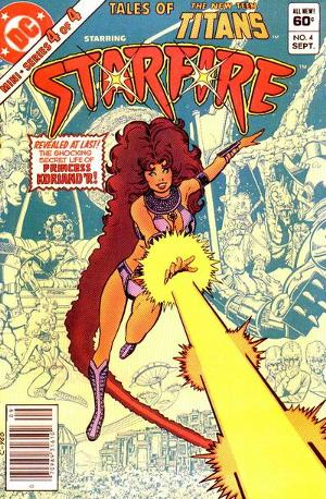 Comic book cover from 1982 featuring Starfire flying and shooting a beam of energy from her hand