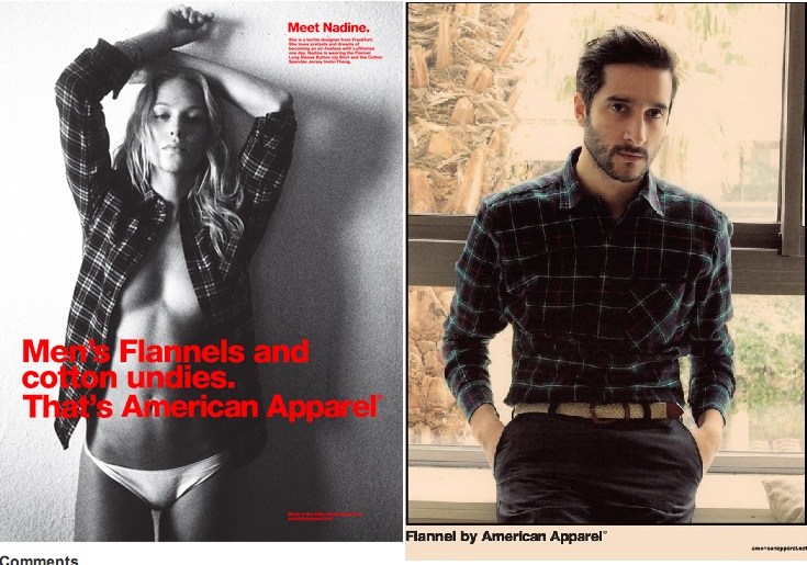 American Apparel flannel shirts women's vs. men's