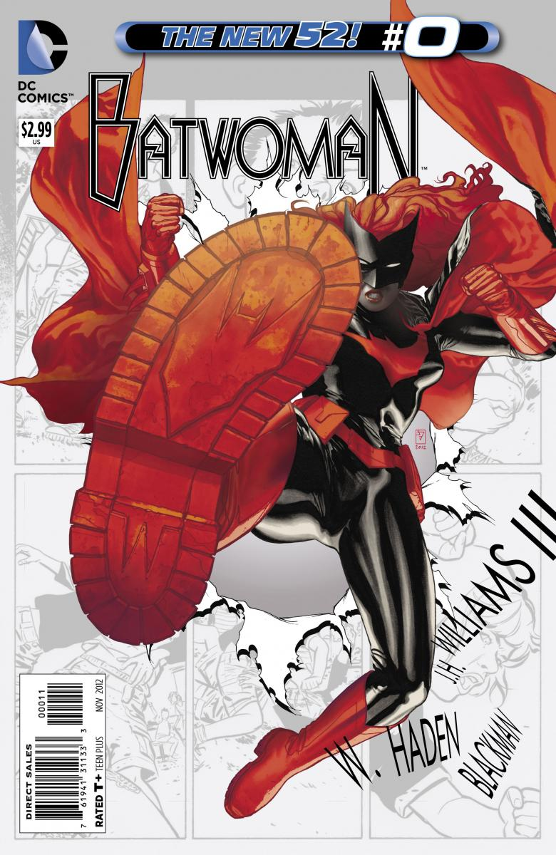 Batwoman issue zero comic cover. Batwoman kicking in boots with Batman symbol and large W on the sole