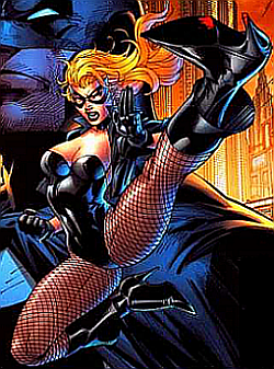 Black Canary performing a flying kick in stilettos with blood spattered on the heel