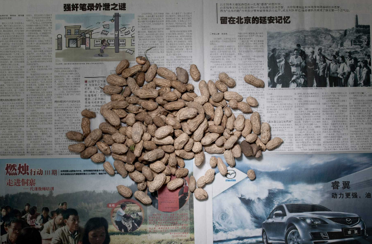 peanuts on a newspaper