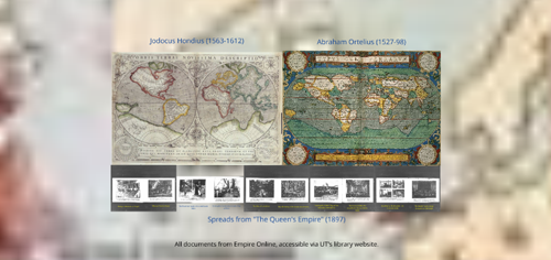 Two maps are set side-by-side, with a row of black-and-white images beneath them and bits of another map in the background.