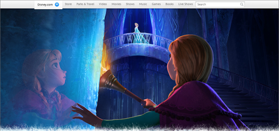 In an ice-bound scene from the film Frozen, Anna gazes up at her sister Elsa