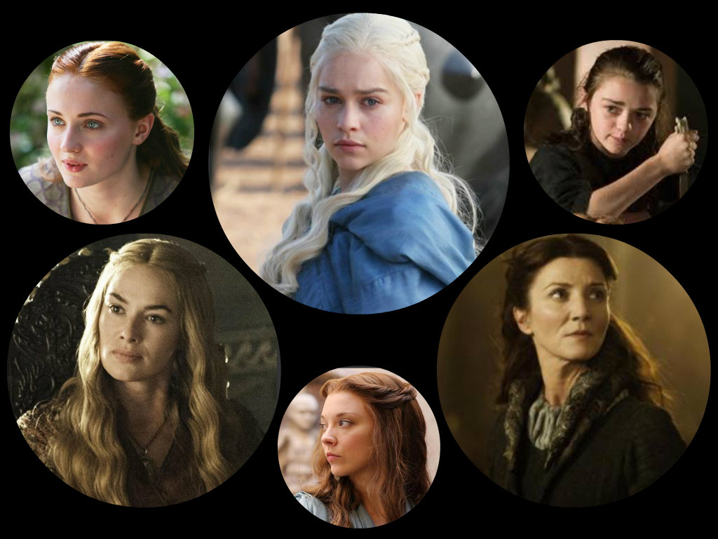 Headshots of female characters from A Game of Thrones
