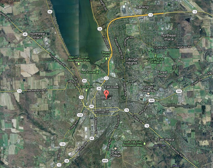 Map of Ithaca, NY via satellite