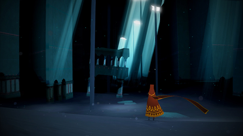 In a cartoon-styled image from a video game, a red-clad figure looks forward in a blue, shadowy environment.