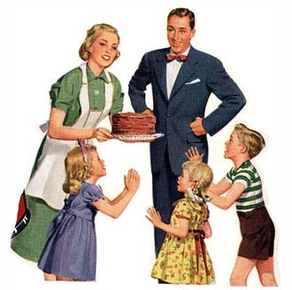 an idealized heterosexual family comprised of a woman holding a cake, a man in a business suit, and three smiling children