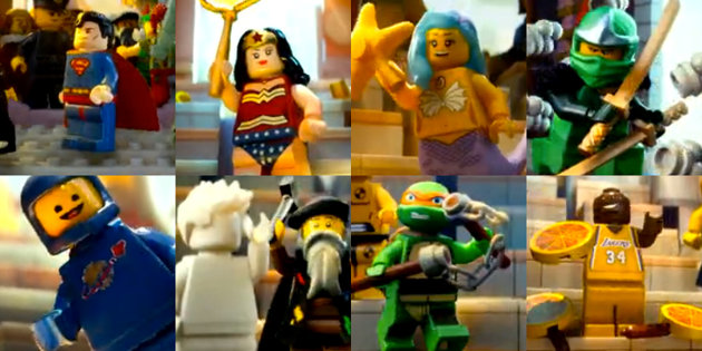 several master builders including Wonder Woman, Space Guy, Green Ninja, and Mermaid Lady
