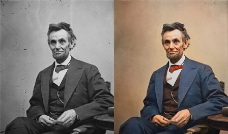Black and White Lincoln Next to Colorized One