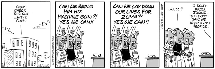 This four panel cartoon depicts South African political activity in the context of Senator Obama's slogan 'yes we can.'