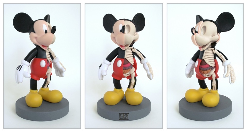 Anatomical bi-section of Mickey Mouse figure