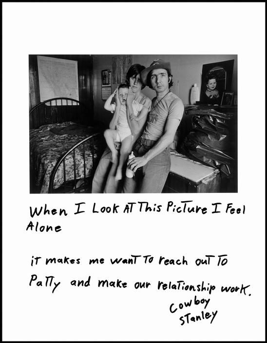 black and white photo of man, woman, and child. Handwritten text beneath photo says when I look at this picture I feel alone. It makes me want to reach out to Patty and make our relationship work. Cowboy Stanley.