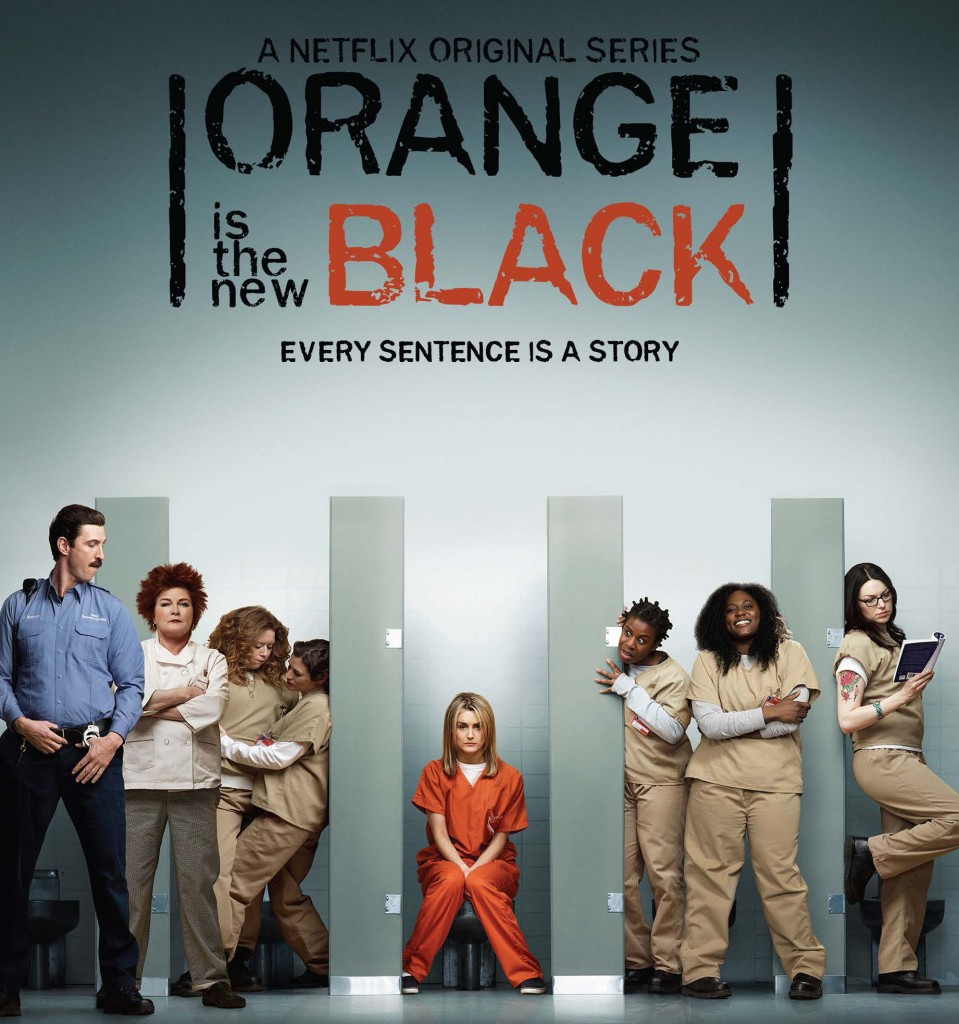 Poster for Orange Is the New Black. Various inmates look out at the camera from bathroom stalls without doors