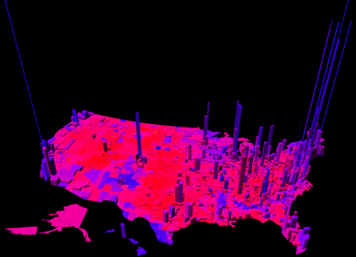 Colorful Geographies Of Beliefs Viz - Political party map us red blue purple