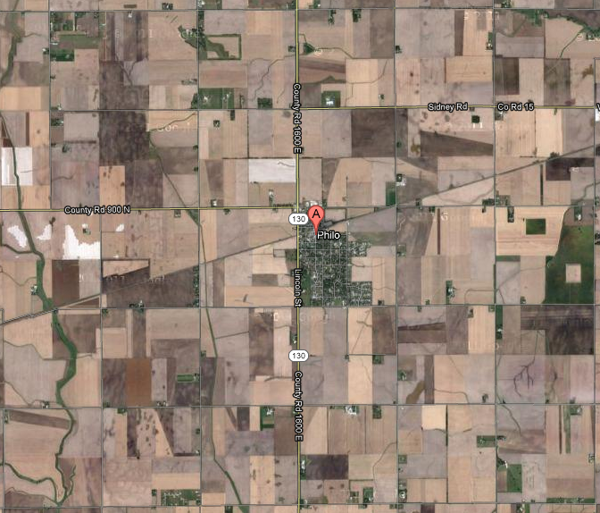 Map of Philo, IL: lots of lines crossing