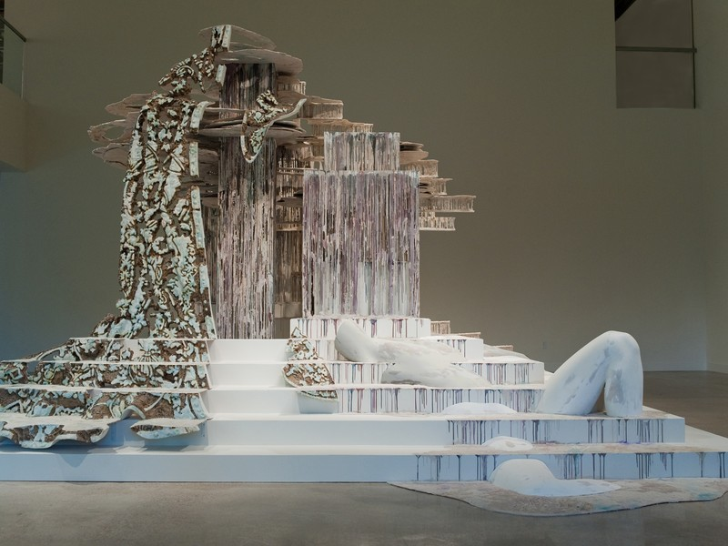 """Suspended After Image"": Entire installation, featuring stairs, paint drips, and plaster body"