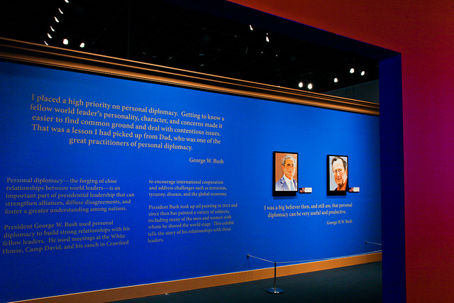 Photograph from George W. Bush Presidential Center's exhibit on The Art of Leadership