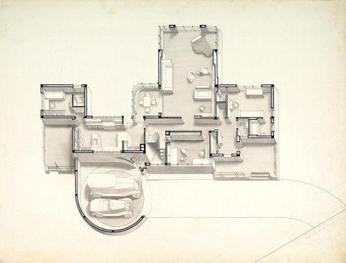 This image is the floor plans for Norman Bel Geddes's House of Tomorrow