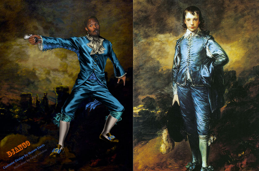 "A juxtaposition of the costume design for Django as valet and Thomas Gainsborough's ""Blue Boy"""