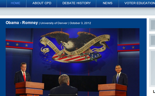 "Eagle logo hangs over Obama and Romney; Eagle clutches arrows, olive branch and banner that reads, ""The Union and the Constitution Forever"""