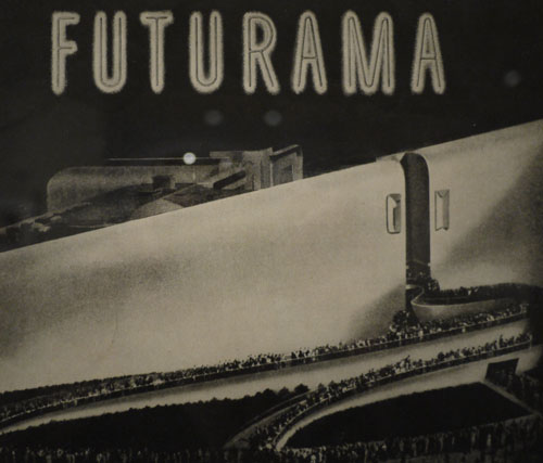 A stylized image of Bel Geddes' _Futurama_ exhibition.