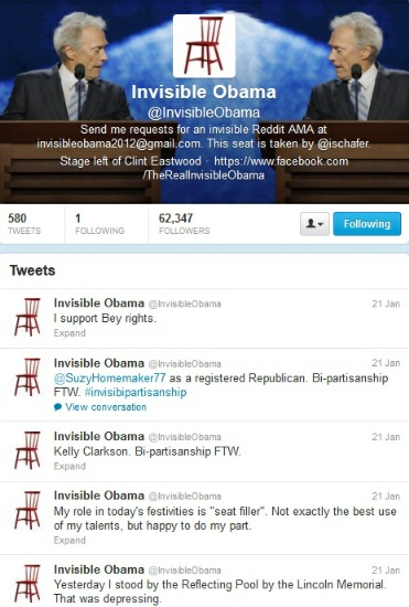 Screenshot of the Twitter feed of Invisible Obama, taken 23 January 2013