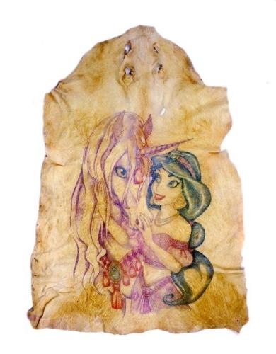 Tattooed Pig Skin--Jasmine and an Unicorn