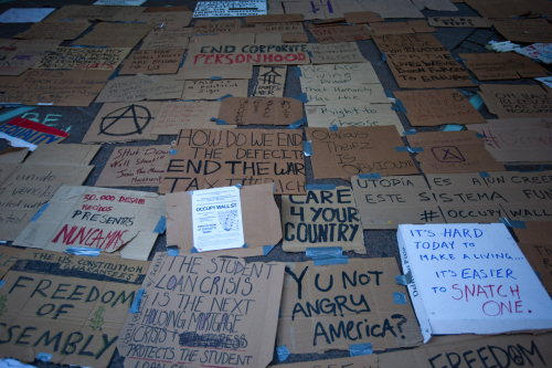 Broad image of occupy wall street posters