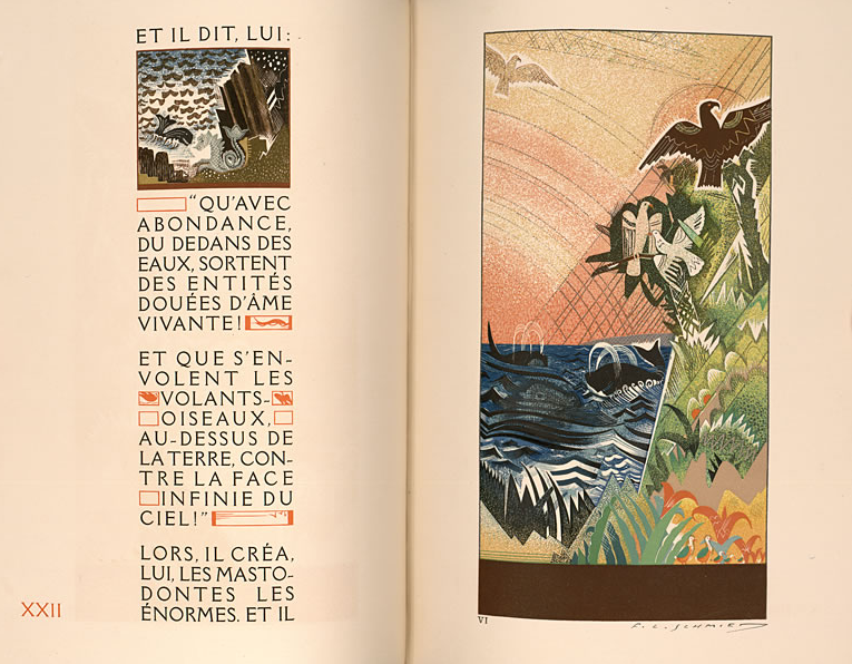 Schmied Creation Two-Page Spread: French on one Side, Animals on the Other
