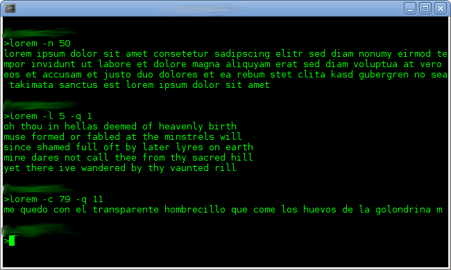 "A screenshot of a command prompt window running a script that produces ""lorem ipsum"" text."