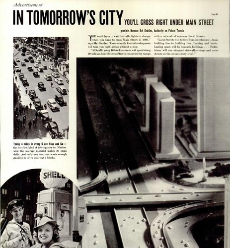 Small photo of traffic-clogged streets contrasted with sketch of futuristic city with cars travelling efficiently on roads
