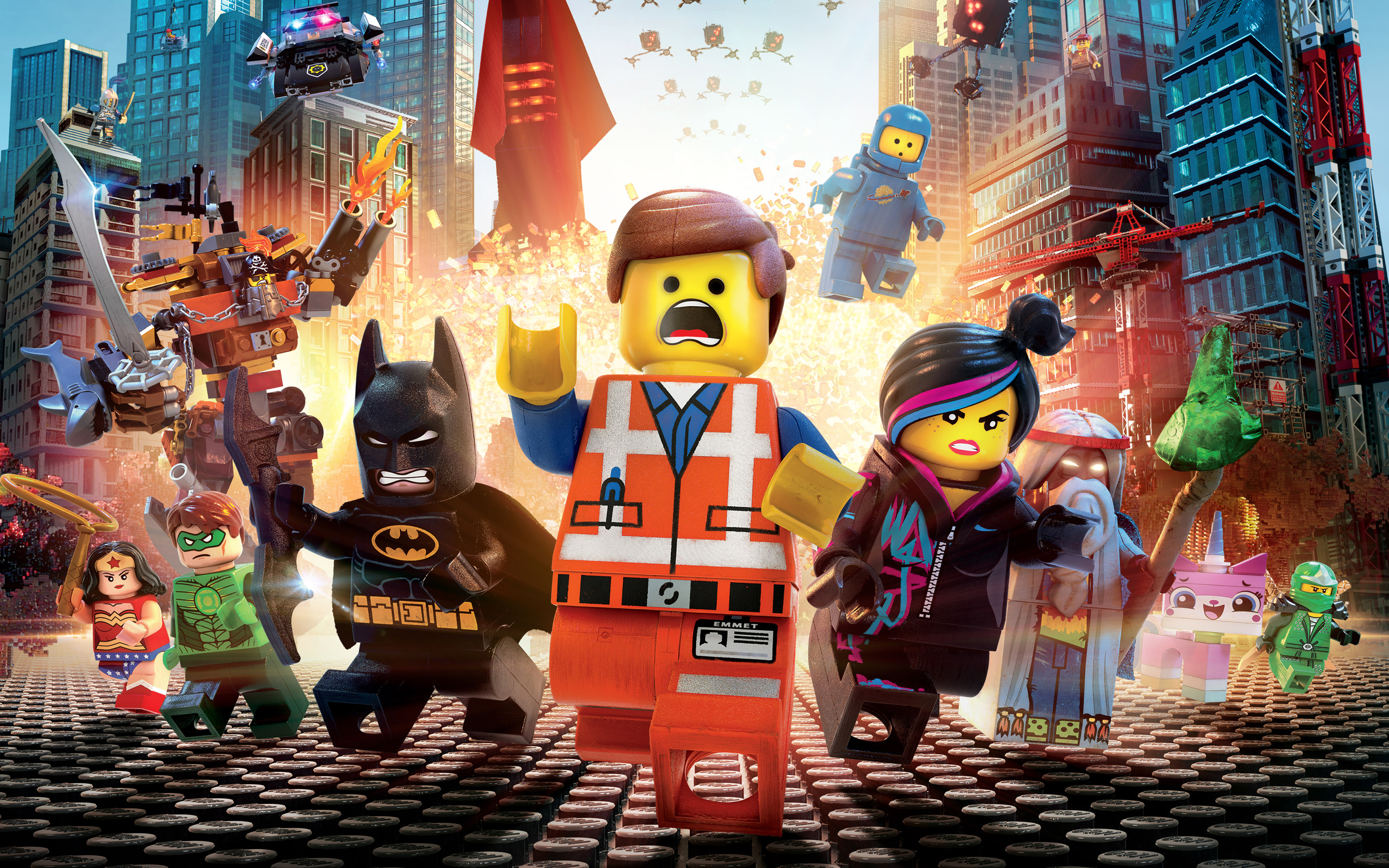 A post for The Lego Movie, featuring main characters Emmett, Wild Style, and others