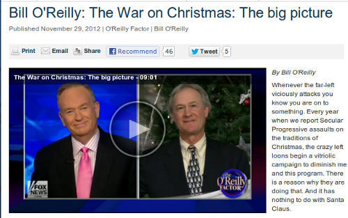 Fox news website screen shot with frame of Bill O'Reilly on camera with guest discussing the War On Christmas