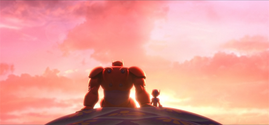 Hiro and his armored robot stare out at the sunset.