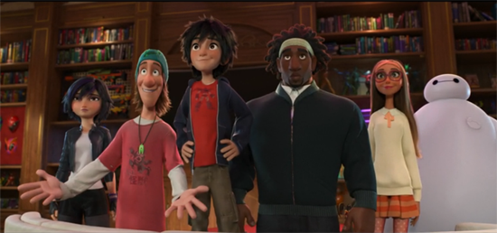 A group shot of the heroes in Big Hero 6.