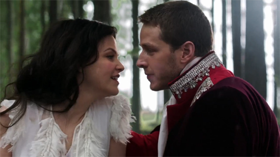 Snow White and her prince nearly kiss in the TV show Once Upon a Time