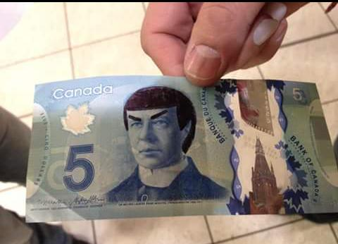 A Canadian $5 bill is colored in so that the figure on the back looks like Spock.