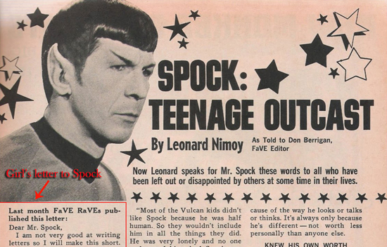 "The cover to ""Spock: Teenage Outcast,"" which features a black-and-white image of Spock and a lot of cartoon stars."
