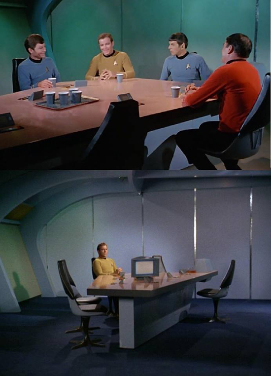This image collects two Star Trek stills as described below.
