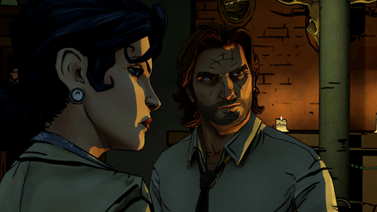 Snow White and Bigby look around a dark, candlelit room in a totally badass manner.