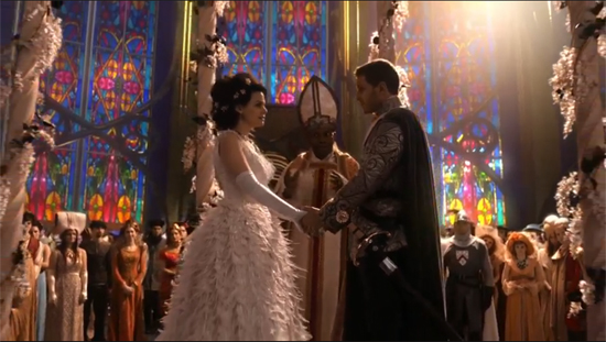 Snow White at her wedding, within a massive, stained-glass, fairy-tale cathedral.
