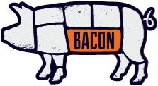 An image of a pig's body divided up by cut lines from the restaurant Bacon.