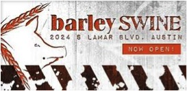 An ad for the restaurant Barley Swine, featuring a cartoonish pig.