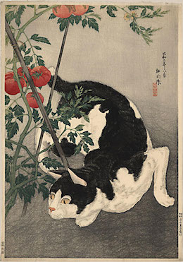 Japanese print of stalking cat