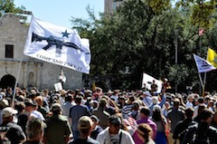 texas gun rights rally with come and take it flag