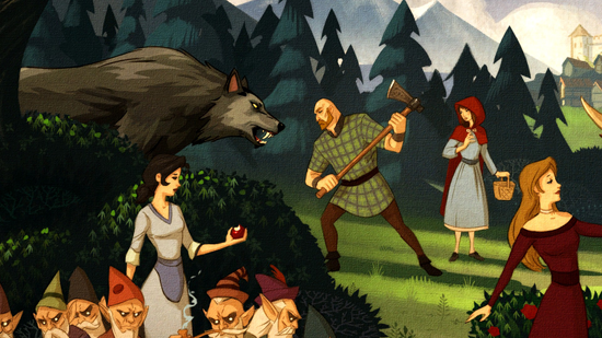 In the fairy-tale painting described below, Snow bites into an apple while the Big Bad Wolf charges the Woodsman, who shelters Little Red Riding Hood.